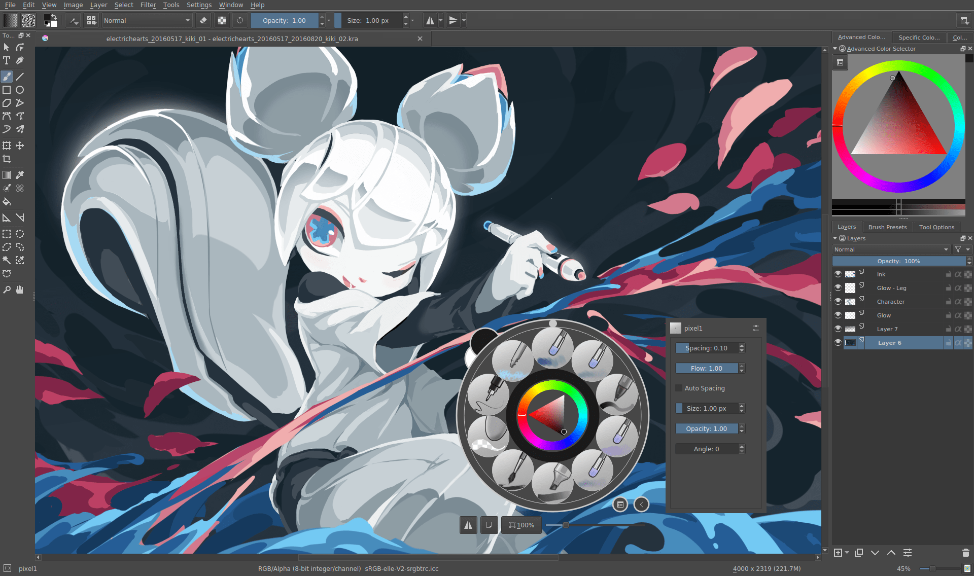 Krita 4.0 pre alpha interface screenshot with kiki » Streamer » Gaming Homepage » Logo Design